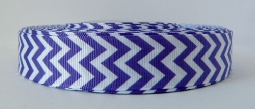 22mm Chevron Grosgrain Ribbon - Purple