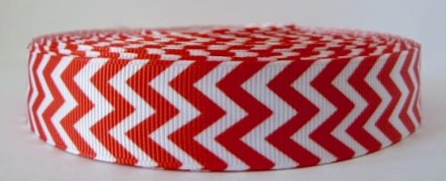22mm Chevron Grosgrain Ribbon - Red