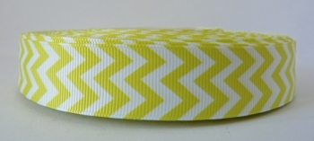 22mm Chevron Grosgrain Ribbon - Yellow