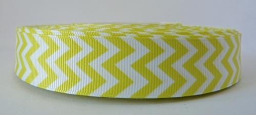 22mm Chevron Grosgrain Ribbon - Yellow