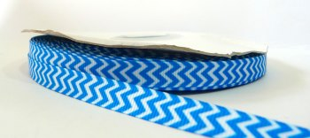9mm Chevron Grosgrain Ribbon - Blue