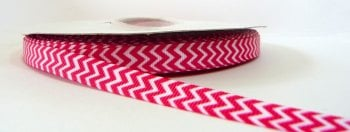 9mm Chevron Grosgrain Ribbon - Fuchsia