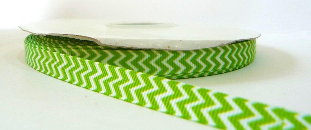 9mm Chevron Grosgrain Ribbon - Green