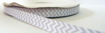 SALE 9mm Chevron Grosgrain Ribbon - Grey