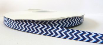 9mm Chevron Grosgrain Ribbon - Navy Blue