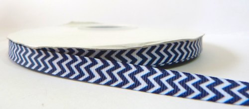9mm Chevron Grosgrain Ribbon - Navy