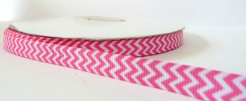 9mm Chevron Grosgrain Ribbon - Pink