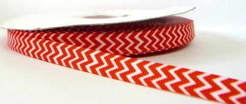 9mm Chevron Grosgrain Ribbon - Red