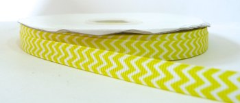 9mm Chevron Grosgrain Ribbon - Yellow