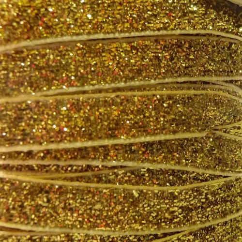 9mm Glitter Velvet Ribbon - Gold
