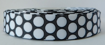 22mm Large Polka Dot Grosgrain Ribbon - Black