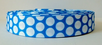 22mm Large Polka Dot Grosgrain Ribbon - Blue