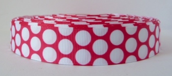 22mm Large Polka Dot Grosgrain Ribbon - Fuchsia