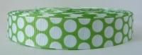 22mm Large Polka Dot Grosgrain Ribbon - Lime