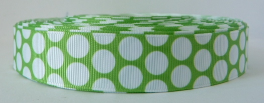 22mm Polka Dot Grosgrain Ribbon - Green