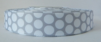 22mm Large Polka Dot Grosgrain Ribbon - Grey