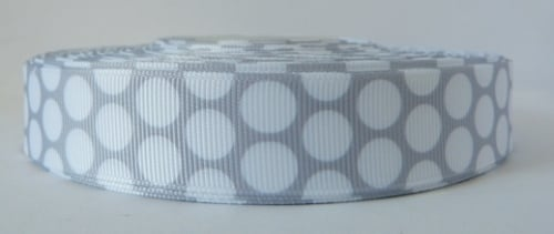 22mm Polka Dot Grosgrain Ribbon - Grey