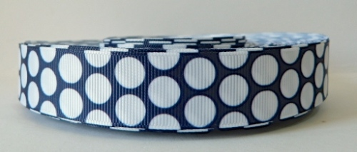 22mm Polka Dot Grosgrain Ribbon - Navy