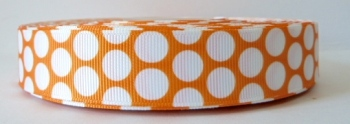 22mm Large Polka Dot Grosgrain Ribbon - Orange