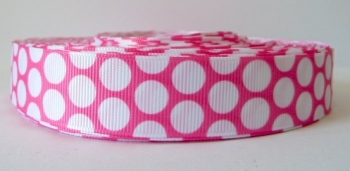 22mm Large Polka Dot Grosgrain Ribbon - Pink