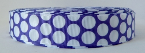 22mm Polka Dot Grosgrain Ribbon - Purple