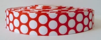 22mm Large Polka Dot Grosgrain Ribbon - Red