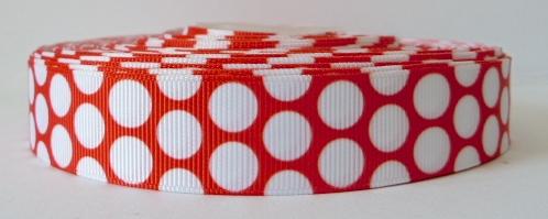 22mm Polka Dot Grosgrain Ribbon - Red