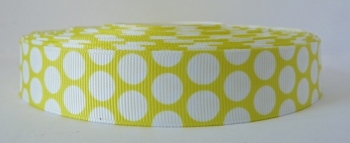 22mm Large Polka Dot Grosgrain Ribbon - Yellow