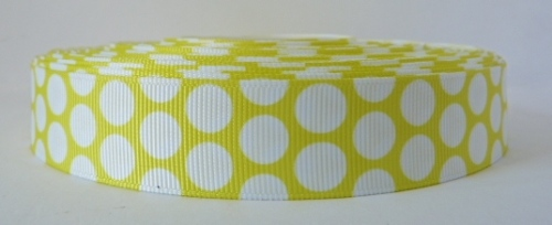 22mm Polka Dot Grosgrain Ribbon - Yellow