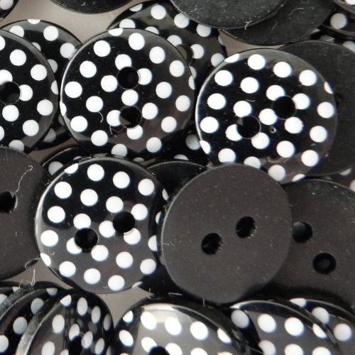 12mm Polka Dot Buttons - Black