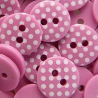 Pack of 10 - 12mm Polka Dot Buttons - Bright Pink