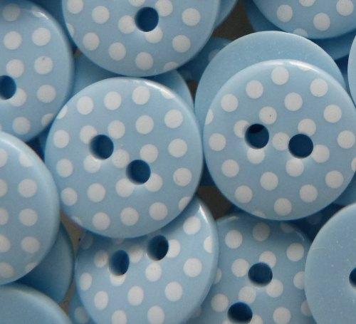 12mm Polka Dot Buttons - Light Blue