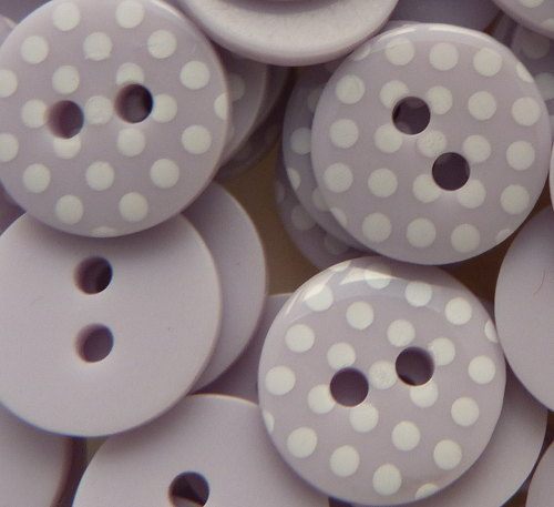 12mm Polka Dot Buttons - Lilac