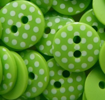 Pack of 10 - 12mm Polka Dot Buttons - Lime Green