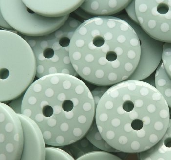 Pack of 10 - 12mm Polka Dot Buttons - Mint