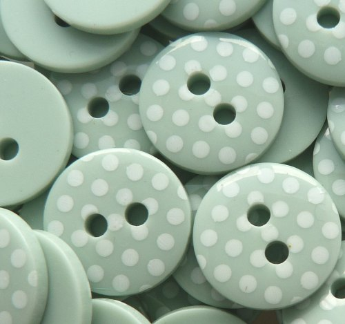 12mm Polka Dot Buttons - Mint