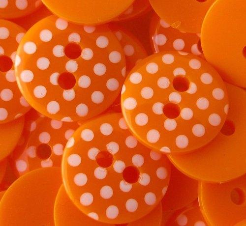 12mm Polka Dot Buttons - Orange