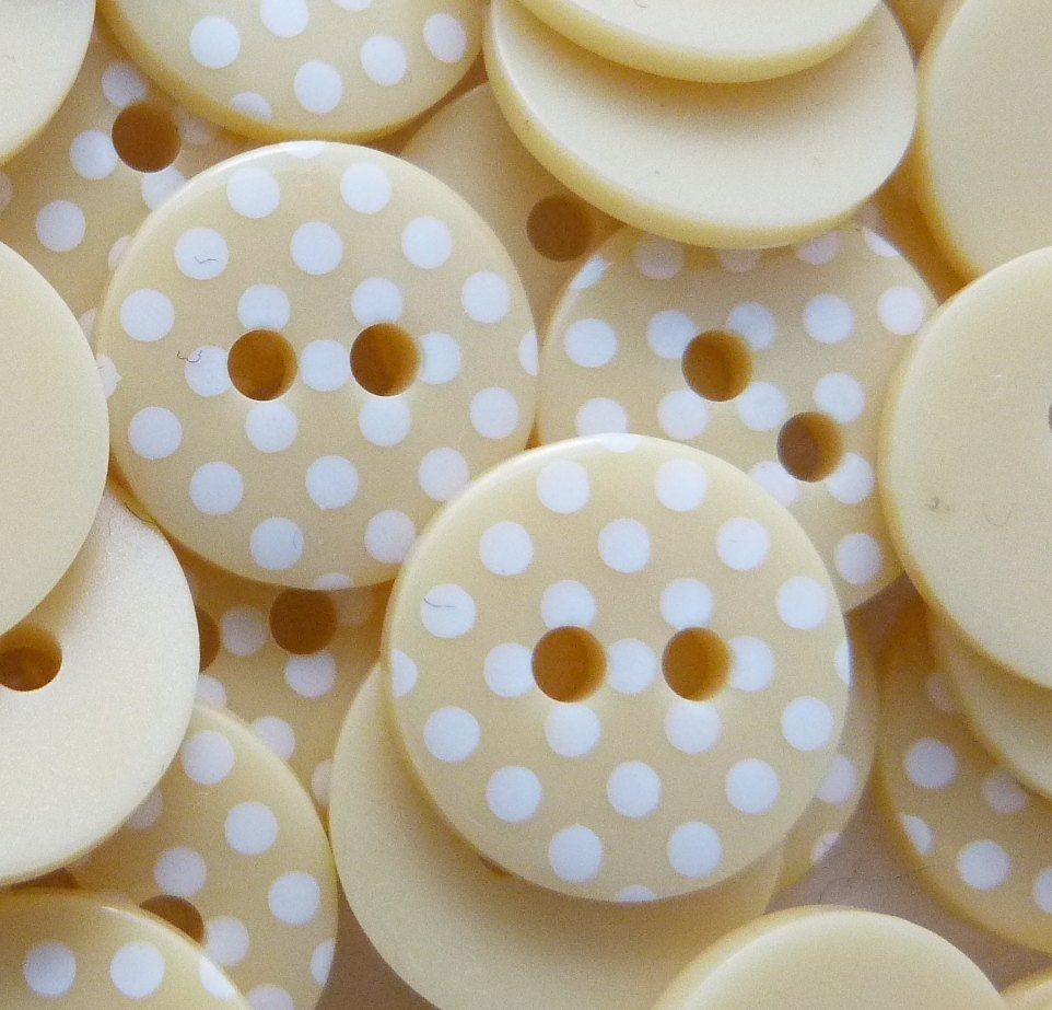 12mm Polka Dot Buttons - Pale Yellow