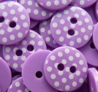 Pack of 10 - 12mm Polka Dot Buttons - Purple