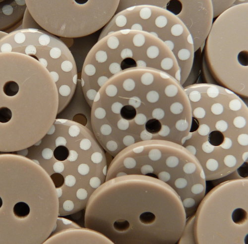 12mm Polka Dot Buttons - Taupe