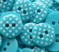 Pack of 10 - 12mm Polka Dot Buttons - Turquoise