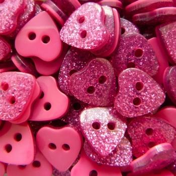 Pack of 10 - Glitter Heart Buttons