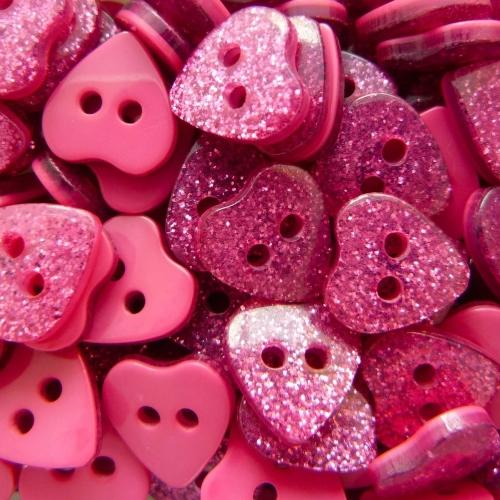 12mm Glitter Heart Buttons - Fuchsia