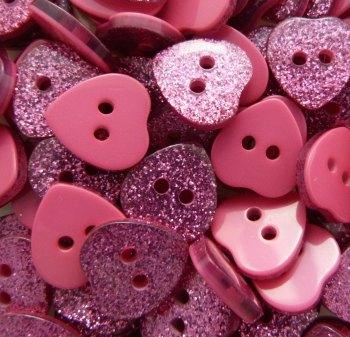 14mm Glitter Heart Buttons - Fuchsia