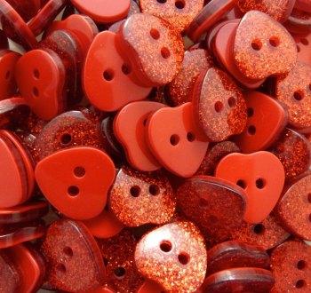14mm Glitter Heart Buttons - Red