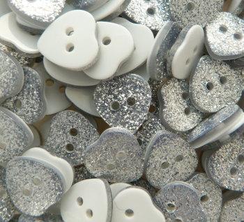 14mm Glitter Heart Buttons - Silver