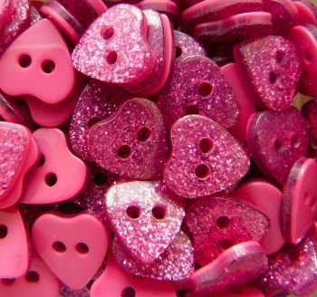 9mm Glitter Heart Buttons - Fuchsia
