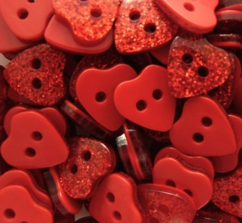 9mm Glitter Heart Buttons - Red