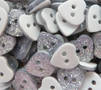 9mm Glitter Heart Buttons - Silver