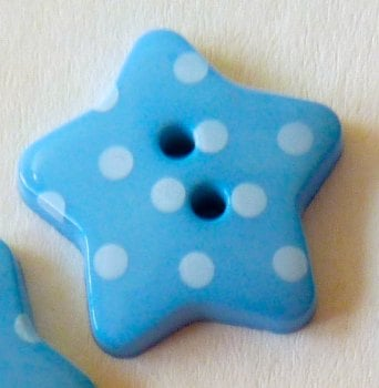 Pack of 5 - 18mm Polka Dot Star Buttons - Blue